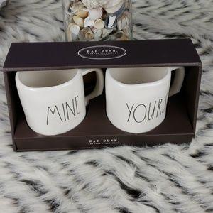 New Rae Dunn Mine Yours Coffee Tea Mug Set